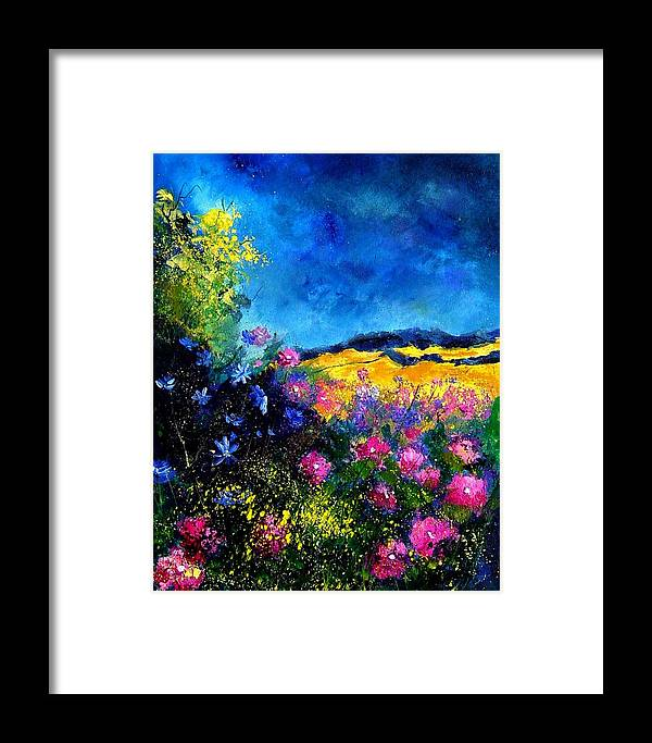 Landscape Framed Print featuring the painting Blue And Pink Flowers by Pol Ledent