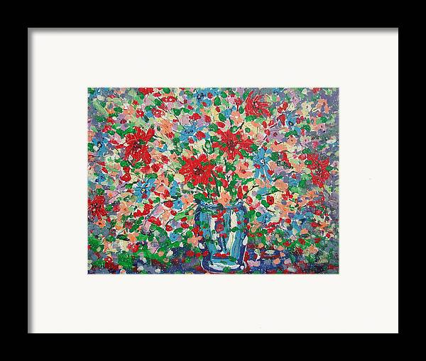Painting Framed Print featuring the painting Blue And Red Flowers. by Leonard Holland