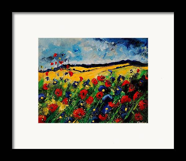 Poppies Framed Print featuring the painting Blue And Red Poppies 45 by Pol Ledent