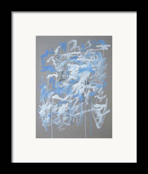 Abstract Framed Print featuring the painting Blue And White Composition by Michael Henderson