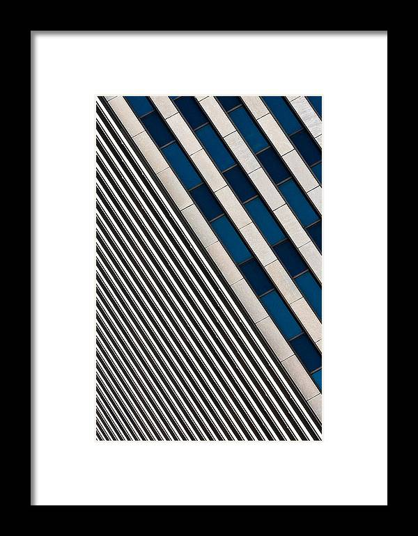 Cincinnati Framed Print featuring the photograph Blue And White Diagonals by Keith Allen