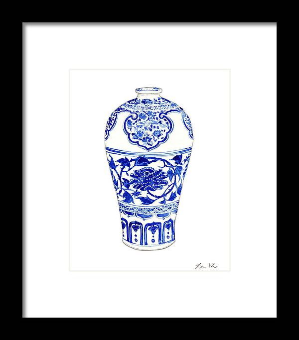Blue And White China Framed Print featuring the painting Blue And White Ginger Jar Chinoiserie 3 by Laura Row
