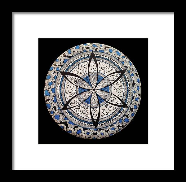 Mandala Framed Print featuring the painting Blue And White Mandala by Susan Singer