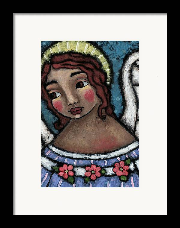 Angel Framed Print featuring the painting Blue Angel With Golden Halo by Julie-ann Bowden
