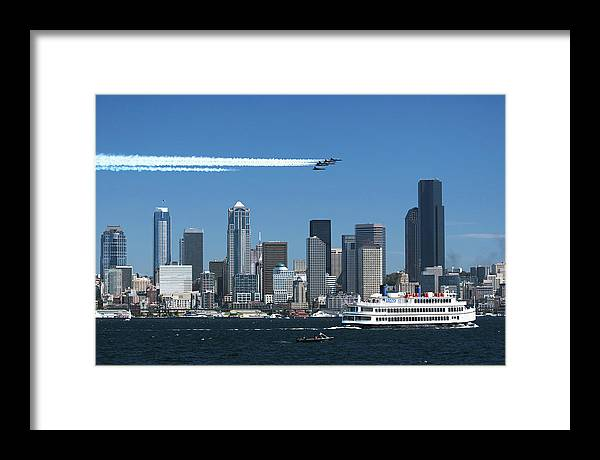 Seattle Framed Print featuring the photograph Blue Angels Over Seattle D028 by Yoshiki Nakamura