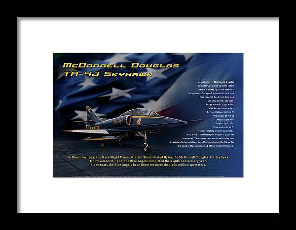 Blue Angels Framed Print featuring the photograph Blue Angels Ta-4j Skyhawk by Richard Hamilton