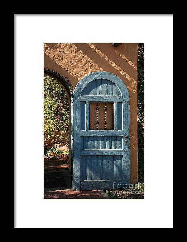 Door Framed Print featuring the photograph Blue Arch Door by Timothy Johnson
