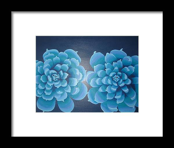 Blue Framed Print featuring the painting Blue Autum by Sarah England-Rocca