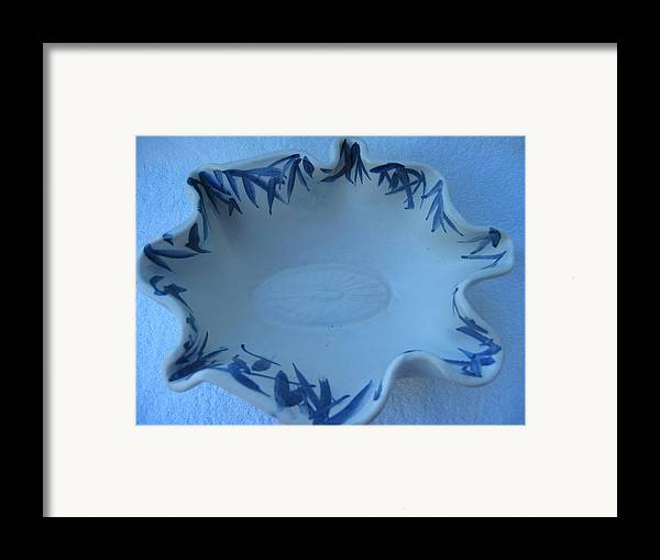Bowl Framed Print featuring the ceramic art Blue Bamboo Bowl by Julia Van Dine