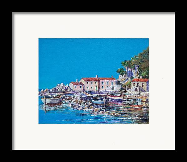 Original Painting Framed Print featuring the painting Blue Bay by Sinisa Saratlic