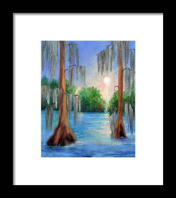 Bayou Landscape Framed Print featuring the painting Blue Bayou by Ginger Concepcion