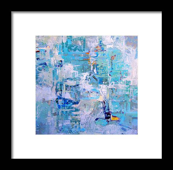 Abstract Framed Print featuring the painting Blue Beacon by Dale Witherow