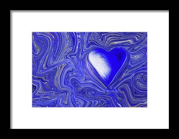 Framed Print featuring the digital art Blue Beats by Margaret Meg Murray