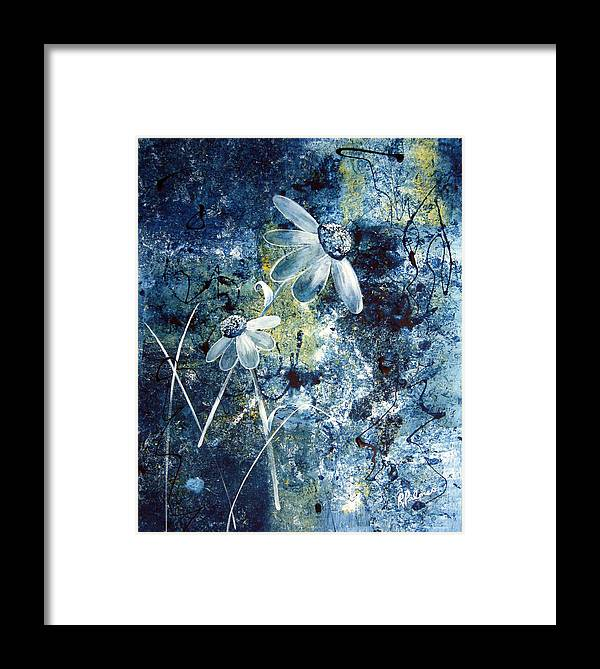 Abstract Framed Print featuring the painting Blue Beauties by Ruth Palmer