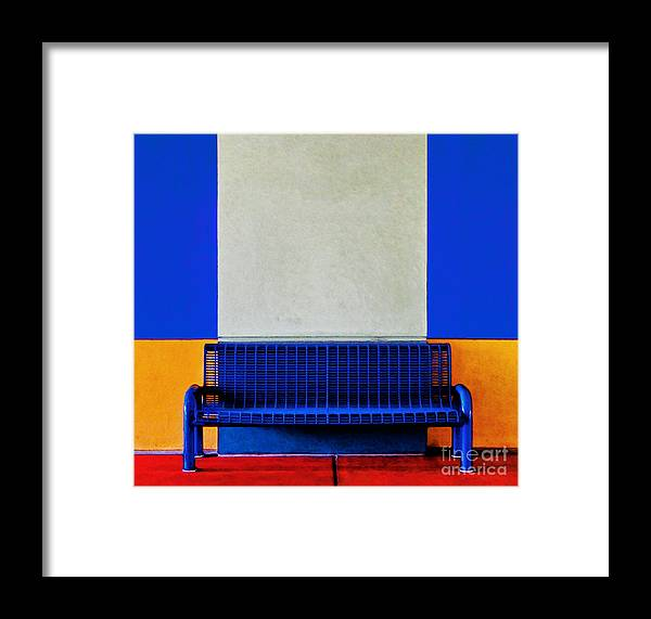 Color Framed Print featuring the photograph Blue Bench by Curtis Staiger