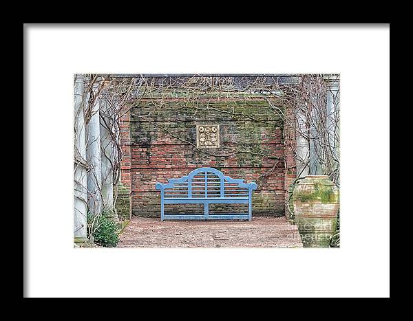 Blue Bench Framed Print featuring the photograph Blue Bench by Patty Colabuono