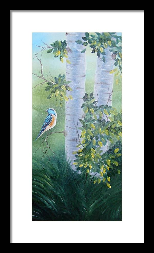 Birds Framed Print featuring the painting Blue Bird In A Birch by Tina Brown