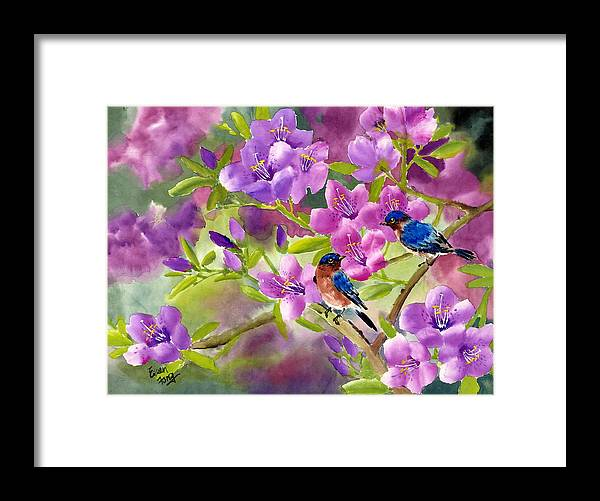 Blue Birds Framed Print featuring the painting Blue Birds With Azalea by Eileen Fong