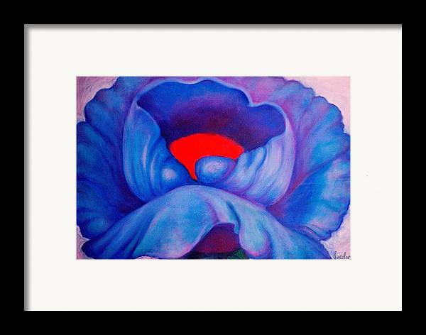 Blue Bloom Framed Print featuring the painting Blue Bloom by Jordana Sands