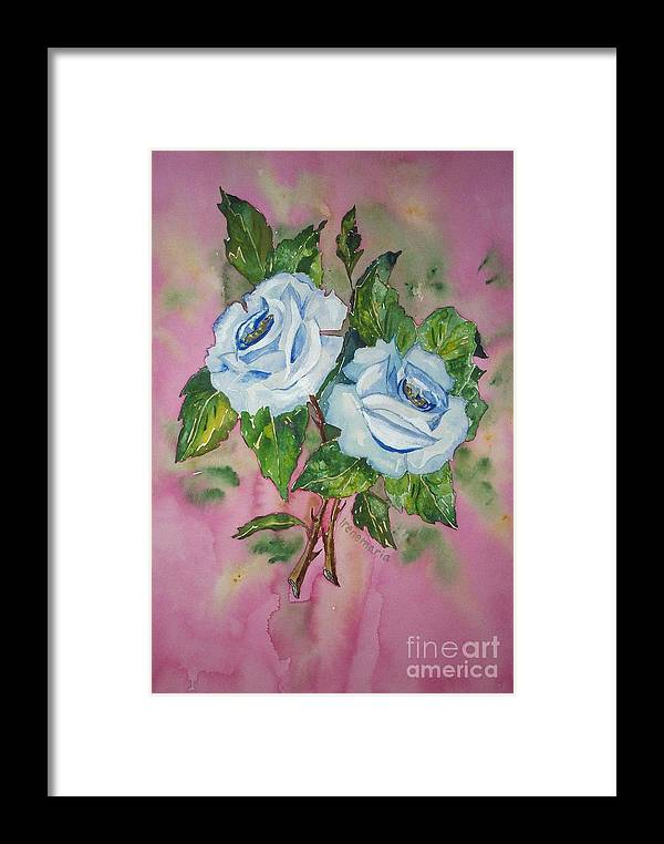 Irenemaria Roses Aquarell Painting Framed Print featuring the painting Blue Blue Roses by Irenemaria Amoroso