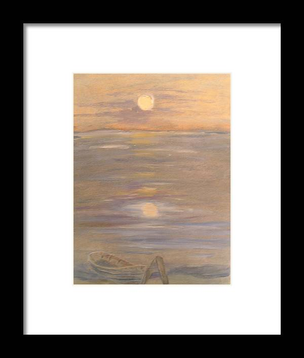 Boat Framed Print featuring the painting Blue Boat by Patricia Caldwell
