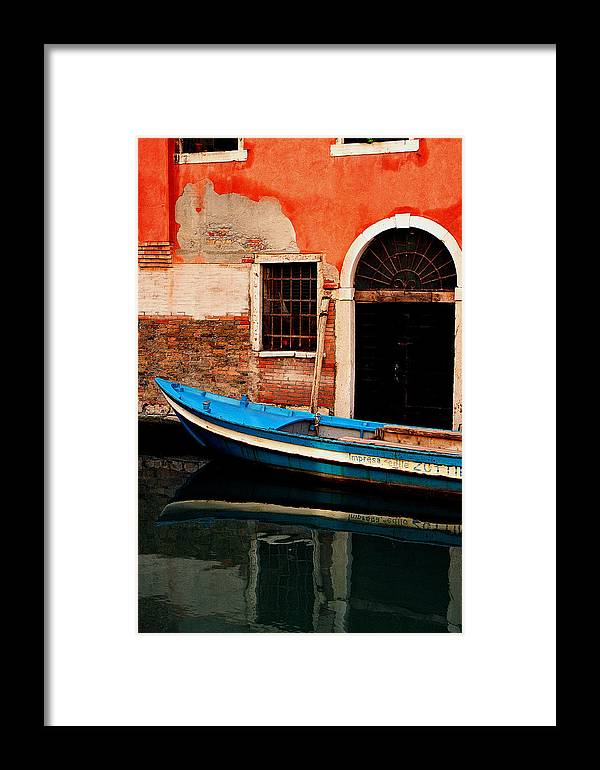 Water Framed Print featuring the photograph Blue Boat Venice Italy by Xavier Cardell