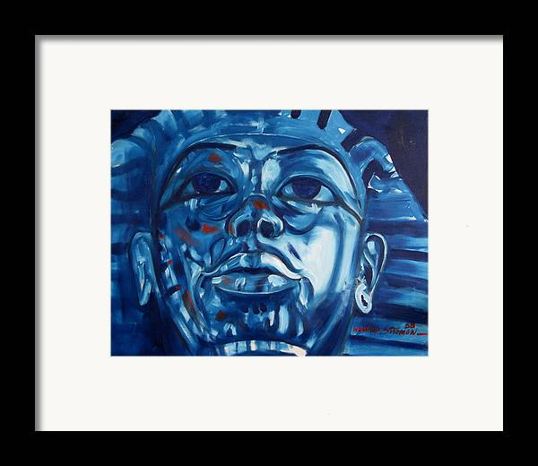 King Tut Framed Print featuring the painting Blue Boy by Howard Stroman