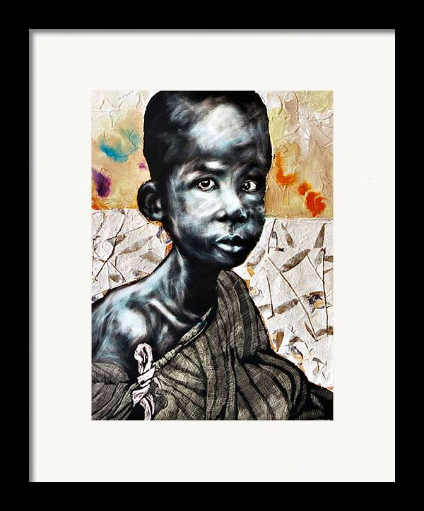 Portriat Framed Print featuring the mixed media Blue Boy In A Big Sweater by Chester Elmore
