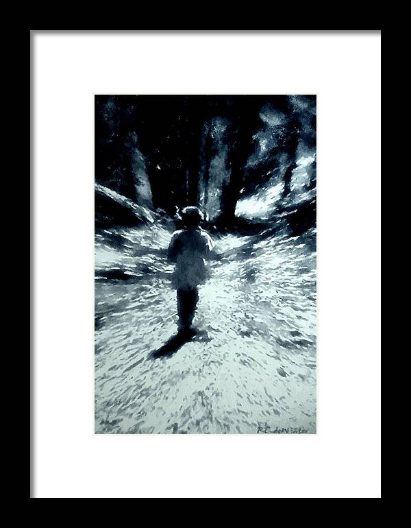 Blue Framed Print featuring the painting Blue Boy Walking Into The Future by RC DeWinter