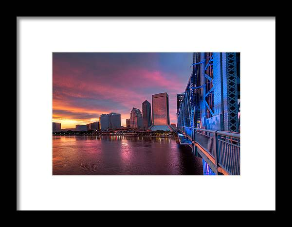Clouds Framed Print featuring the photograph Blue Bridge Red Sky Jacksonville Skyline by Debra and Dave Vanderlaan
