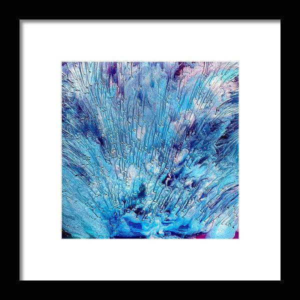 Abstract Framed Print featuring the painting Blue Burst by Paul Tokarski