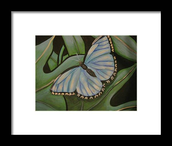 Blue Framed Print featuring the painting Blue Butterfly by Janene Hall