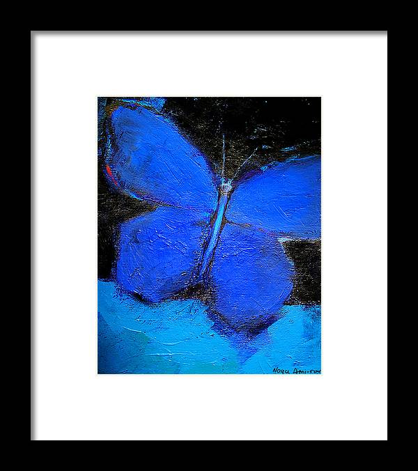Butterfly Framed Print featuring the painting Blue Butterfly by Noga Ami-rav