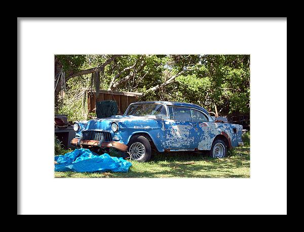 Cars Framed Print featuring the photograph Blue Car On The Bayou by Heather S Huston