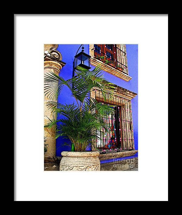 Tlaquepaque Framed Print featuring the photograph Blue Casa With Fern by Mexicolors Art Photography