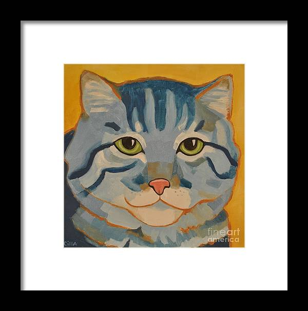 Blue Framed Print featuring the painting Blue Cat by Cilla Mays
