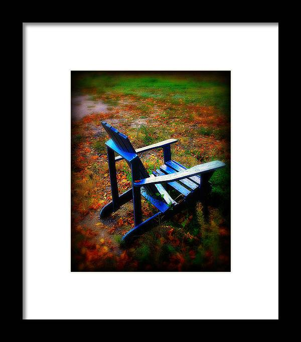 Chair Framed Print featuring the photograph Blue Chair by Perry Webster