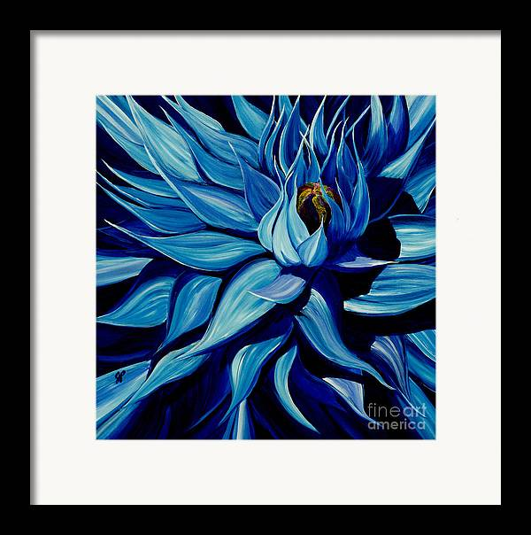 Macro Flower Framed Print featuring the painting Blue Clematis by Julie Pflanzer