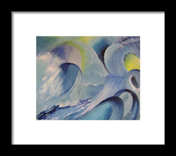 Abstract Framed Print featuring the painting Blue Concerto 1 by Lian Zhen