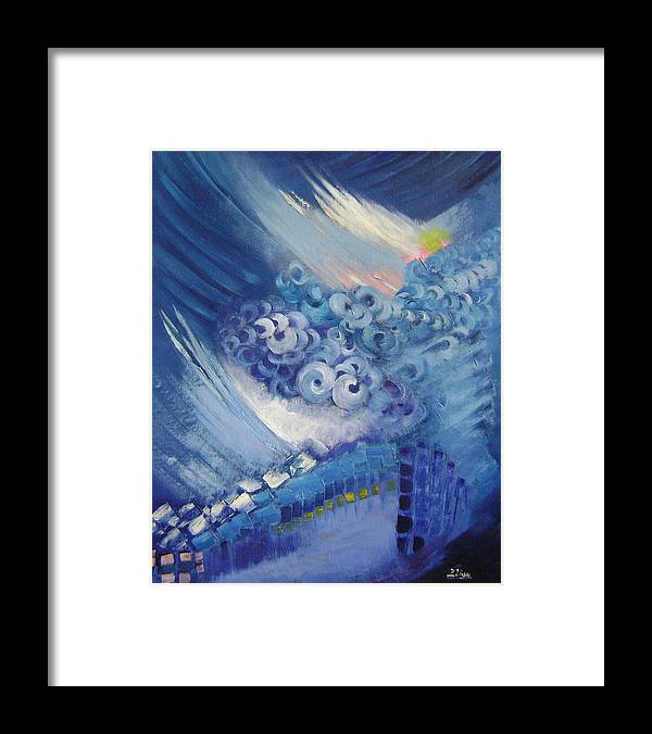 Abstract Framed Print featuring the painting Blue Concerto 2 by Lian Zhen