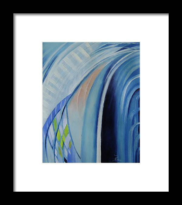 Abstracts Framed Print featuring the painting Blue Concerto 3 by Lian Zhen