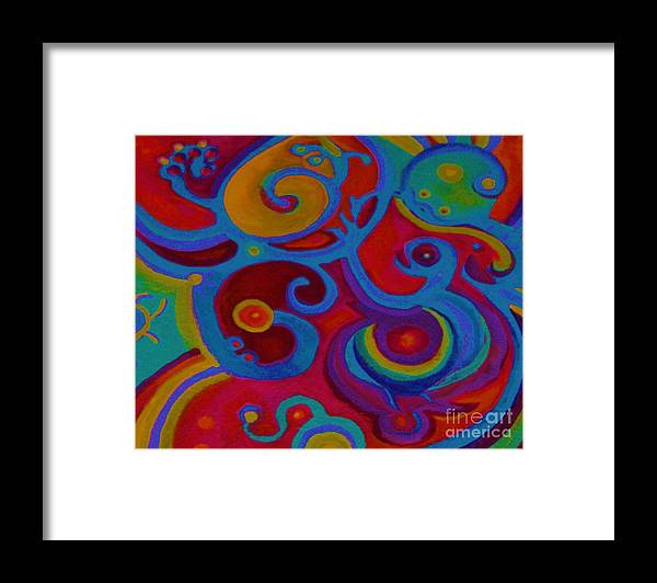 Abstract Framed Print featuring the painting Blue Corn Flower by Sidra Myers