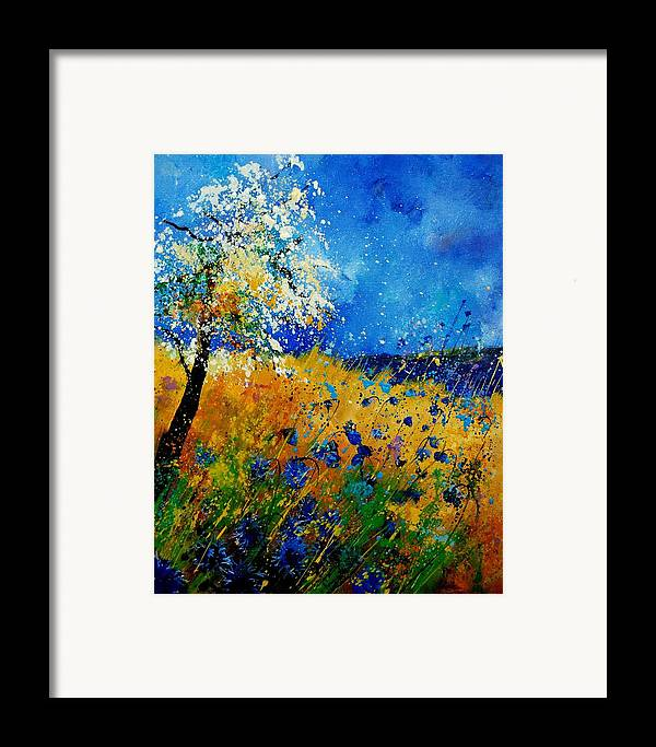 Poppies Framed Print featuring the painting Blue Cornflowers 450108 by Pol Ledent