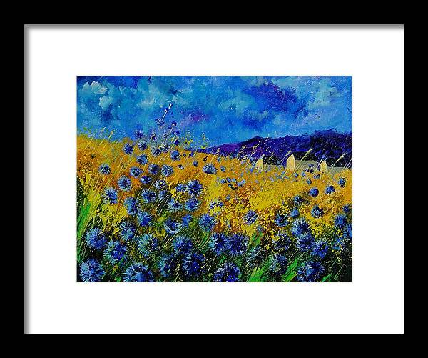 Poppies Framed Print featuring the painting Blue cornflowers by Pol Ledent