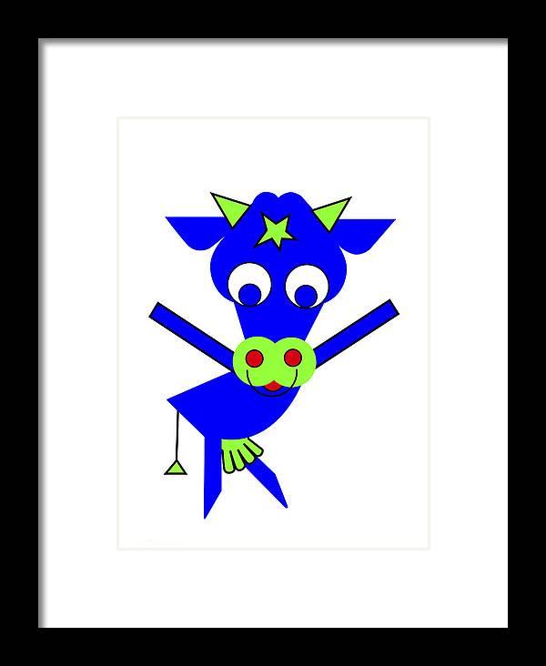 Cow Framed Print featuring the digital art Blue Cow Margaret by Asbjorn Lonvig