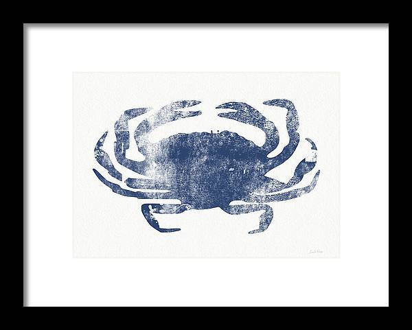 Cape Cod Framed Print featuring the painting Blue Crab- Art by Linda Woods by Linda Woods