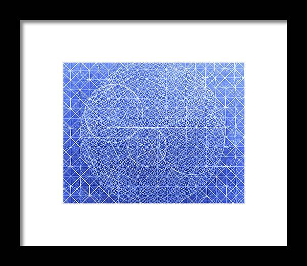 Sacred Geometry Framed Print featuring the mixed media Blue Creation by Dorothy Berry-Lound