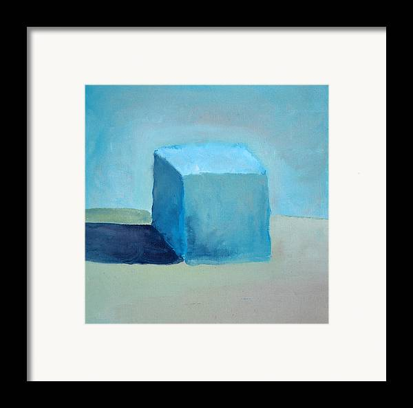 Blue Framed Print featuring the painting Blue Cube Still Life by Michelle Calkins