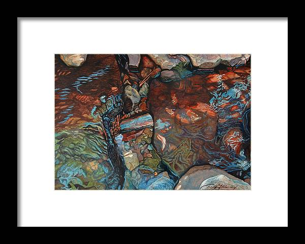 Rocks Framed Print featuring the painting Blue Current by Craig Gallaway