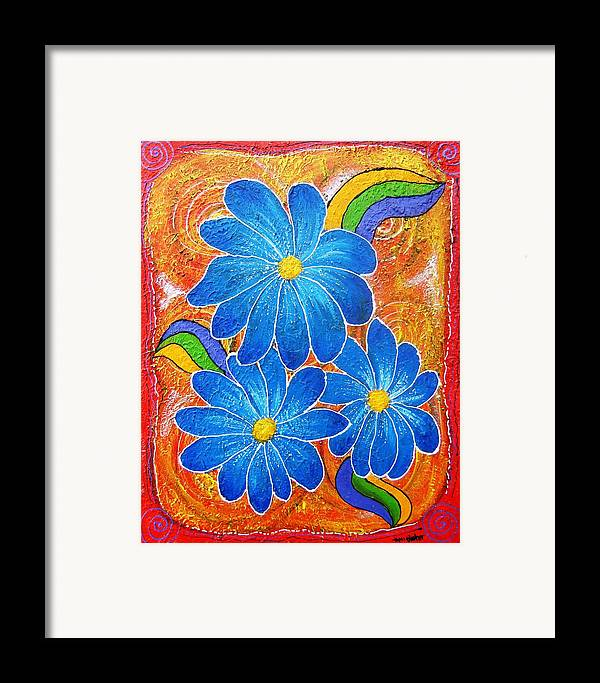 Framed Print featuring the painting Blue Daisies Gone Wild by Tami Booher